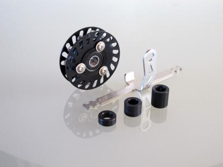 schwarze Kettenleitrolle mit 12 Zähnen  Standardkäfig   Spacer 5,5 mm